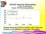 paths universal intervention 1 year of intervention teacher trf externalizing behavior