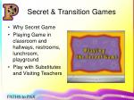 secret transition games