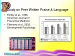 study on peer written praise language