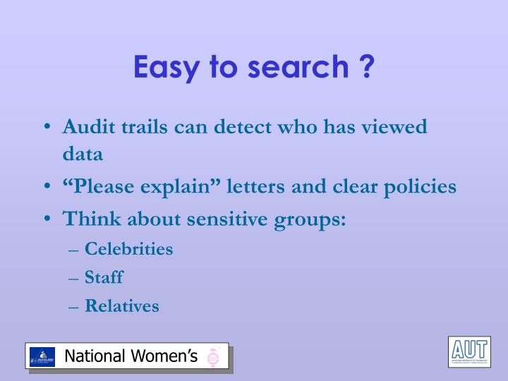 Easy to search ?
