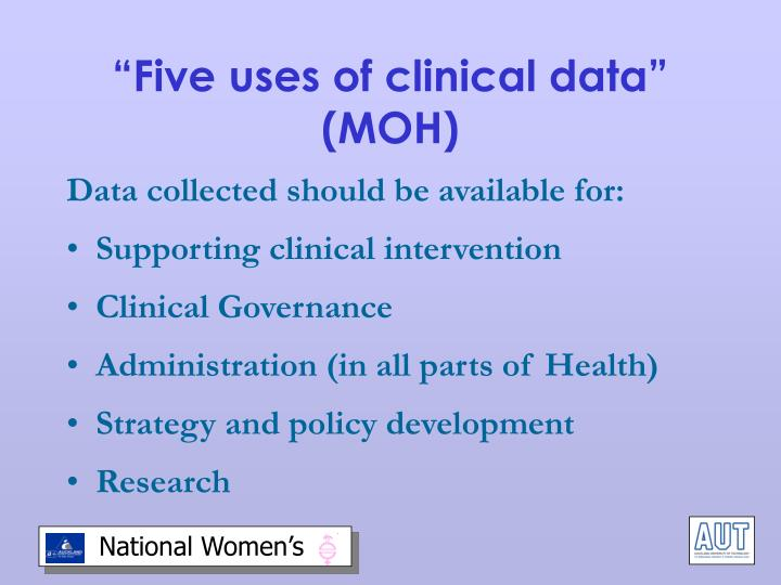 """""""Five uses of clinical data"""" (MOH)"""