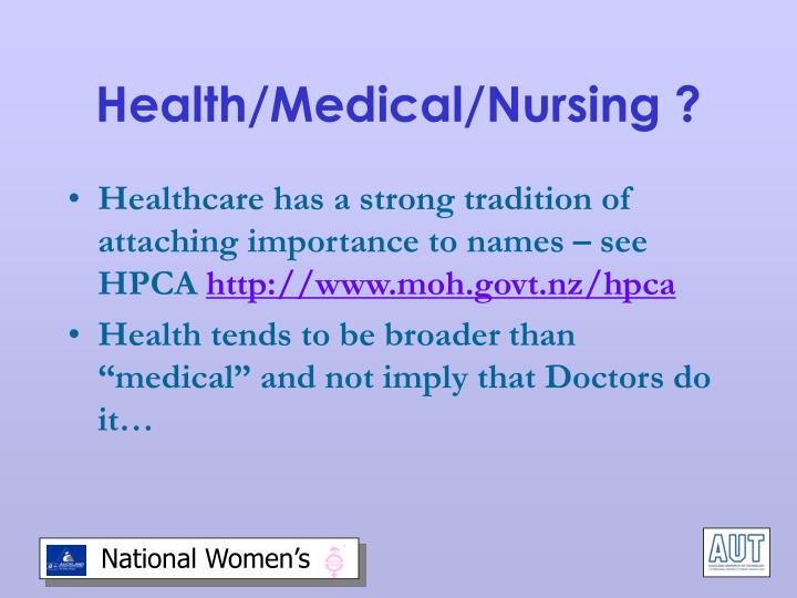 Health/Medical/Nursing ?