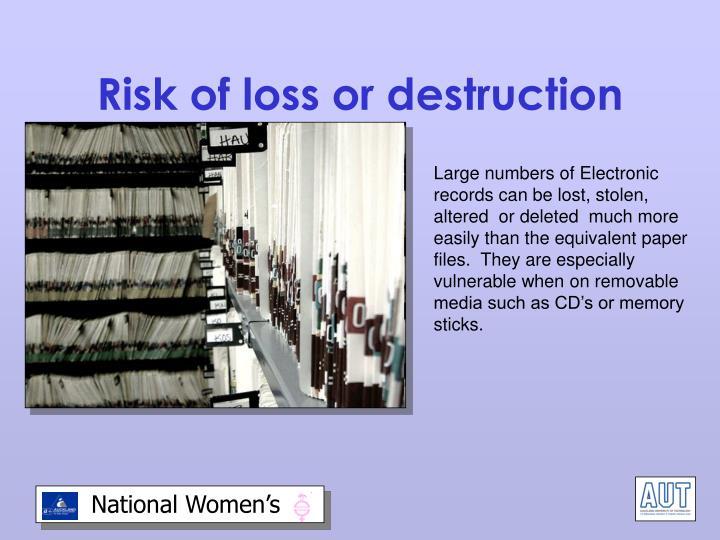 Risk of loss or destruction