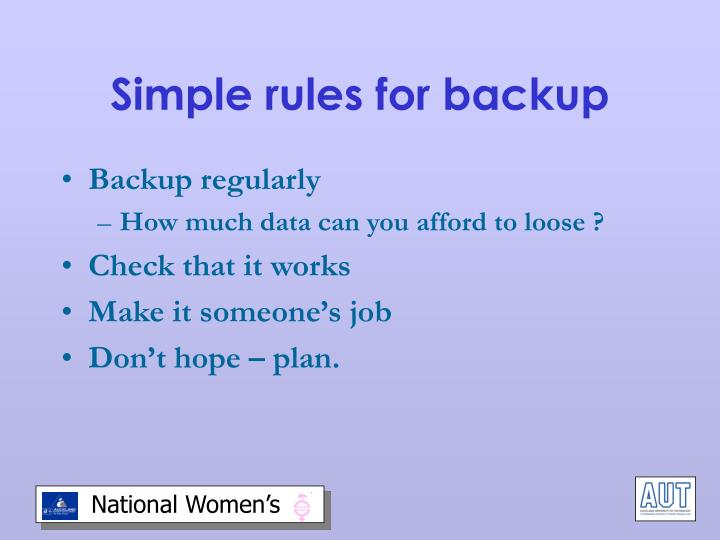 Simple rules for backup