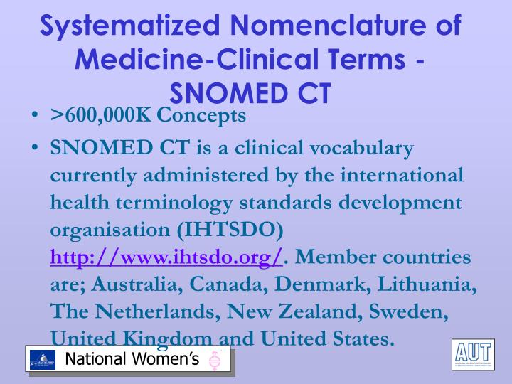 Systematized Nomenclature of Medicine-Clinical Terms - SNOMED CT