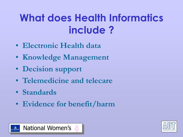 What does Health Informatics include ?