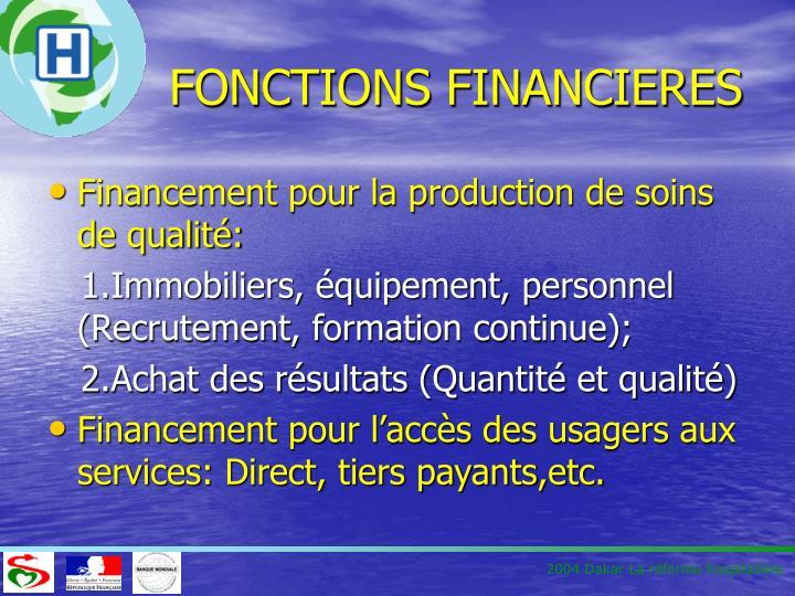 Fonctions financieres