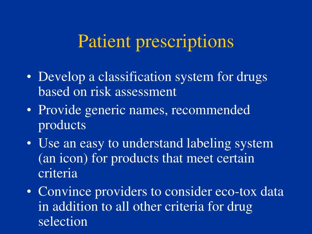 Patient prescriptions