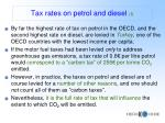tax rates on petrol and diesel i