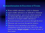 biotransformation excretion of toxins