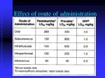 effect of route of administration