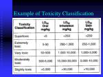 example of toxicity classification