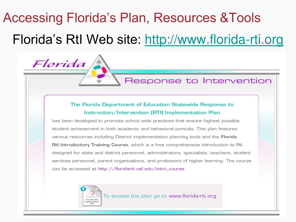 Accessing Florida's Plan, Resources &Tools