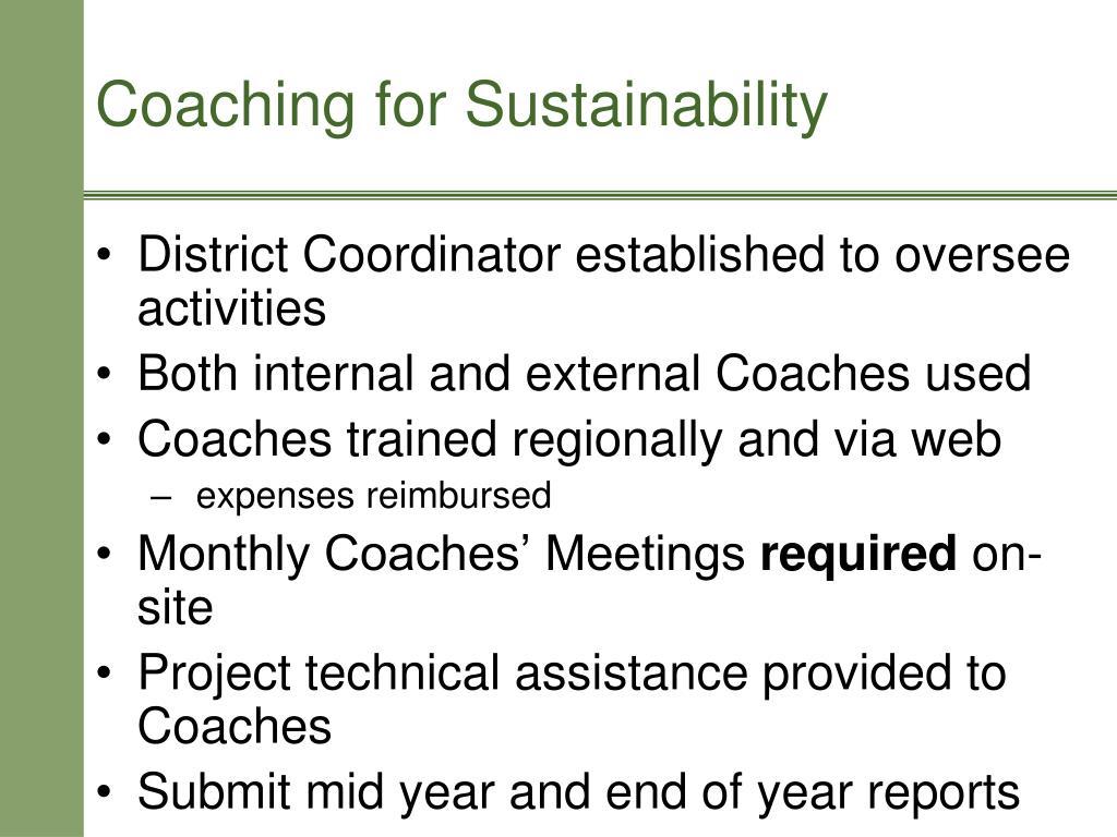 District Coordinator established to oversee activities