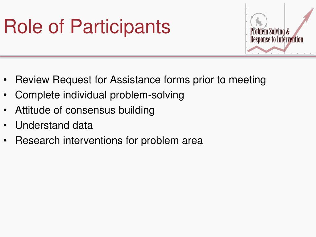 Role of Participants