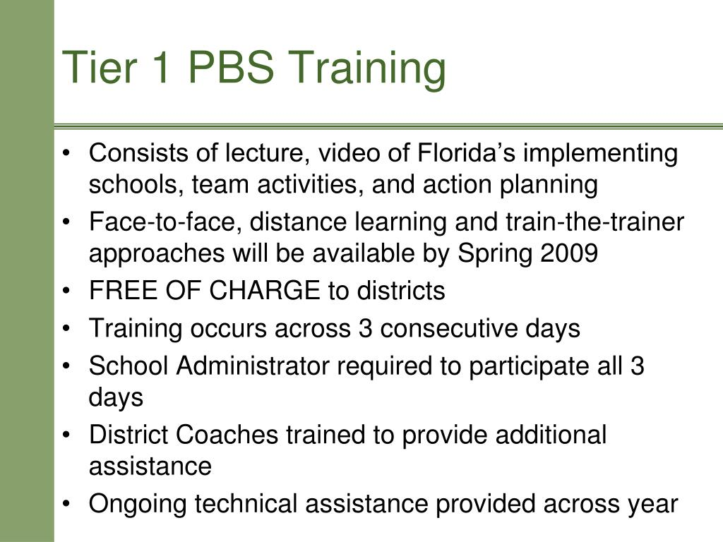 Consists of lecture, video of Florida's implementing schools, team activities, and action planning