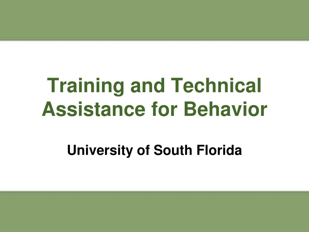 Training and Technical Assistance for Behavior