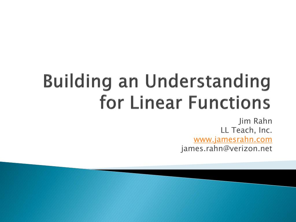 Building an Understanding for Linear Functions