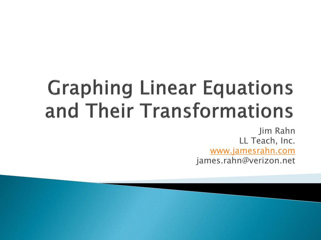 Graphing Linear Equations and Their Transformations