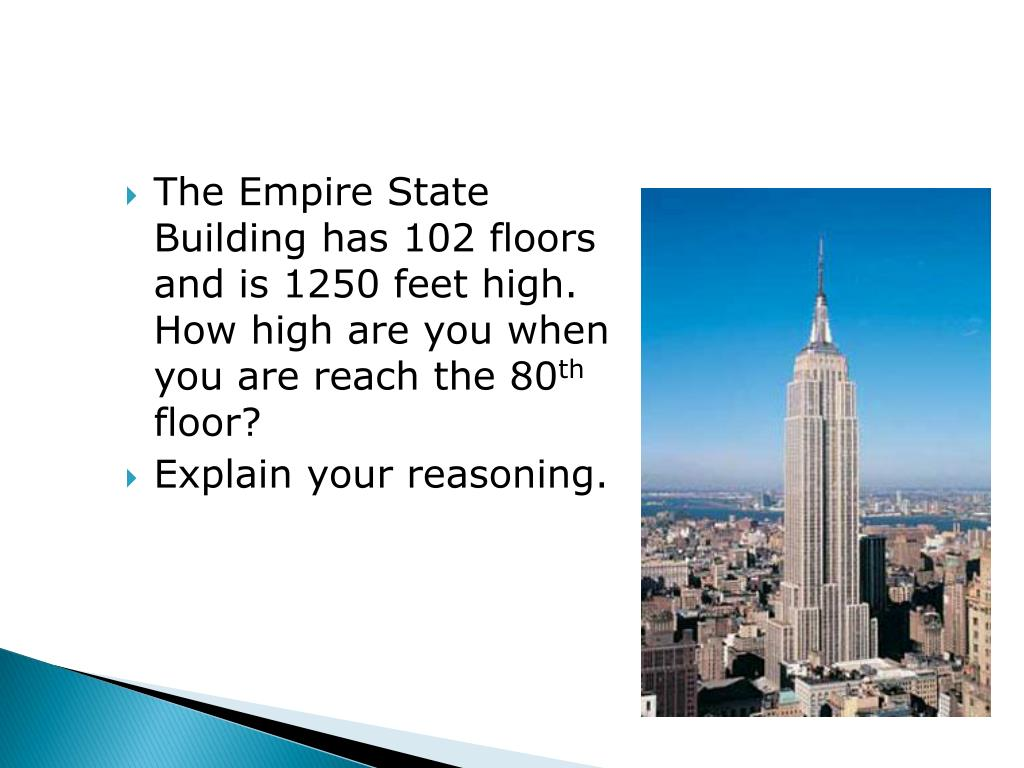 The Empire State Building has 102 floors and is 1250 feet high.  How high are you when you are reach the 80
