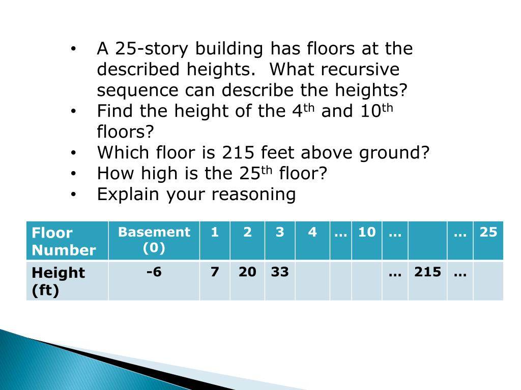 A 25-story building has floors at the described heights.  What recursive sequence can describe the heights?