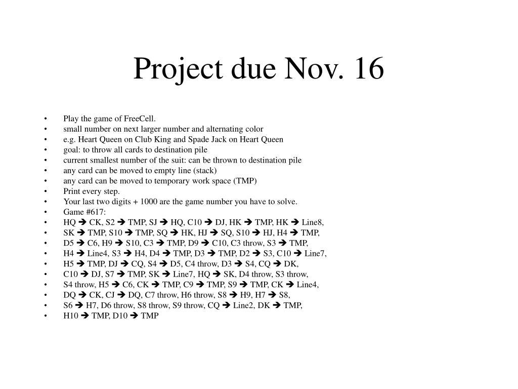 Project due Nov. 16