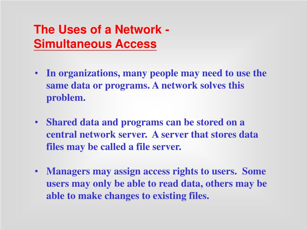 The Uses of a Network -