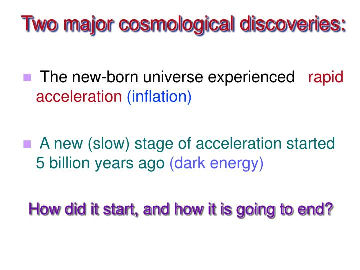 Two major cosmological discoveries