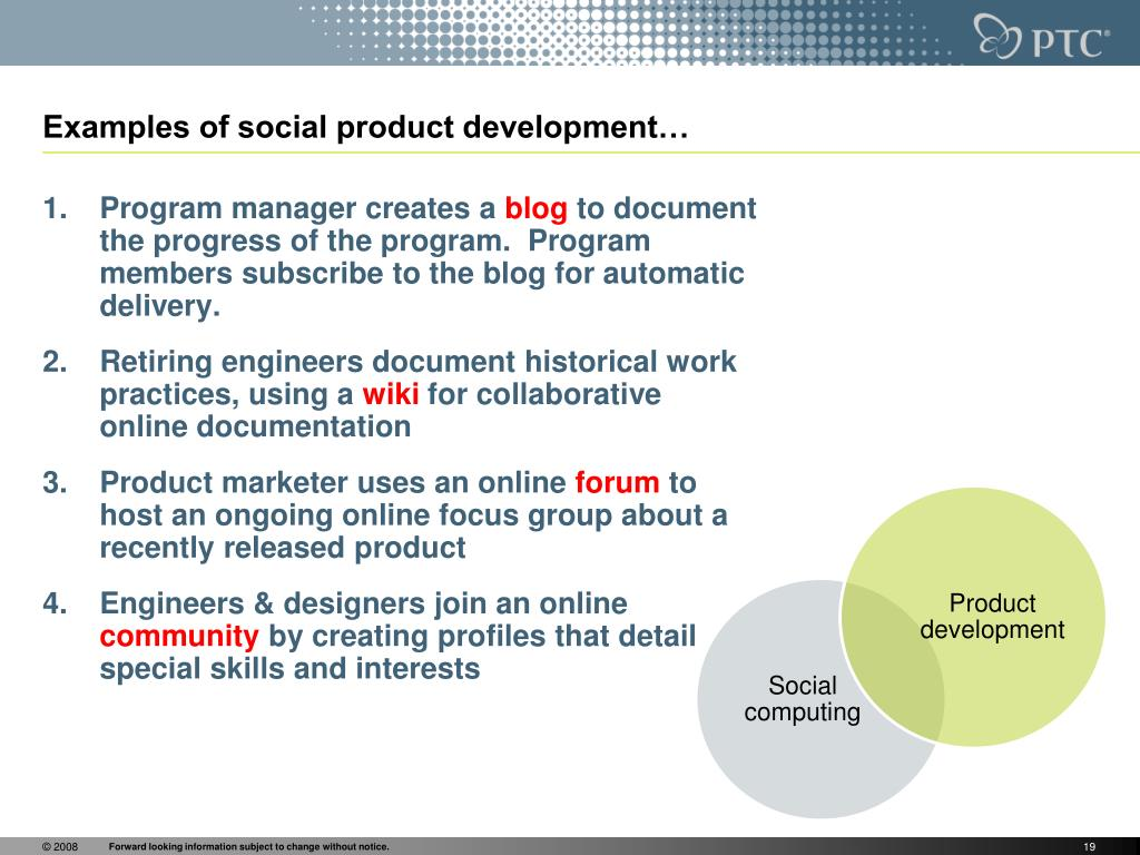 Examples of social product development…