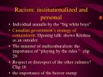 racism institutionalized and personal