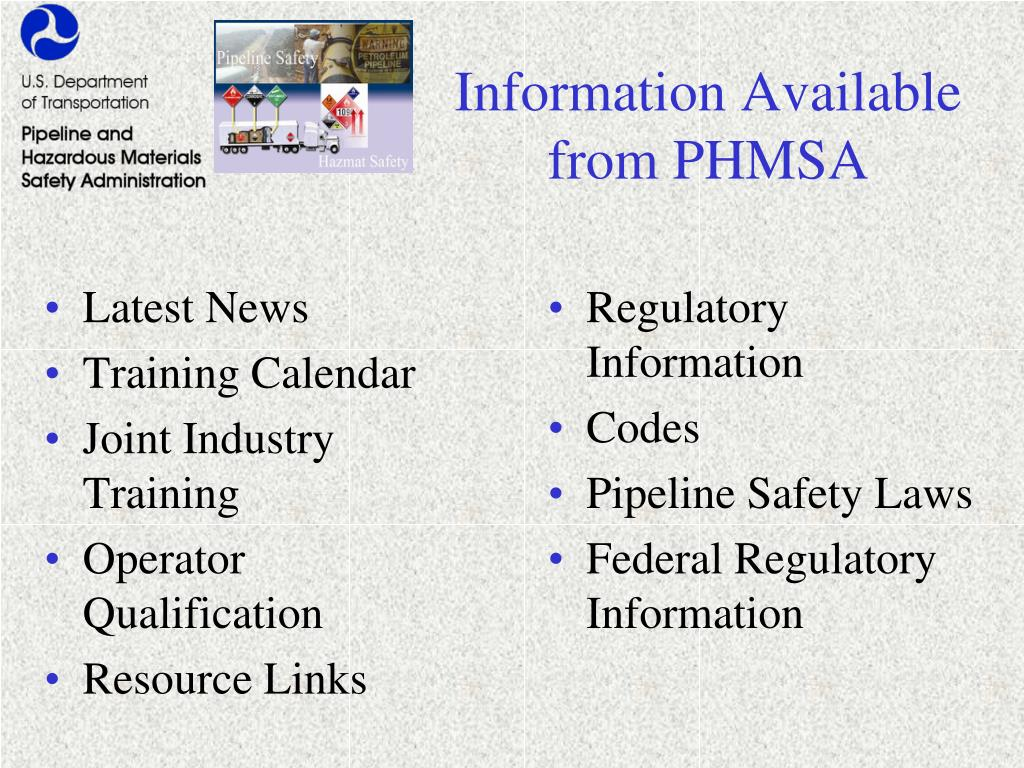 Information Available from PHMSA