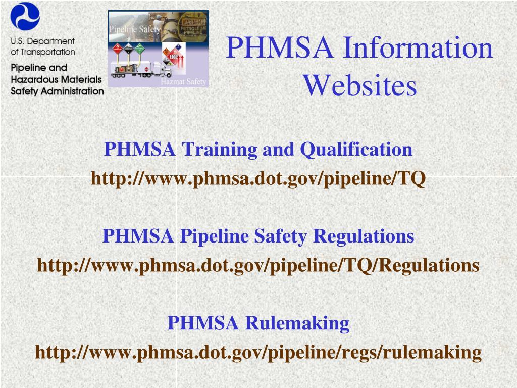 PHMSA Information Websites