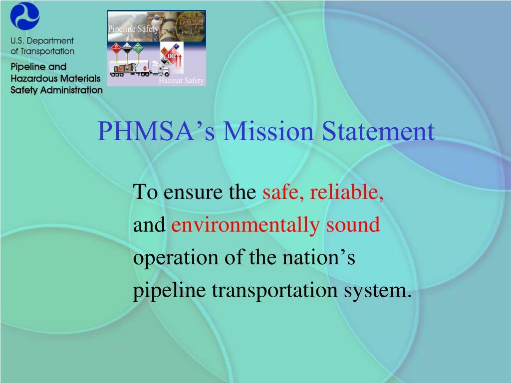 PHMSA's Mission Statement