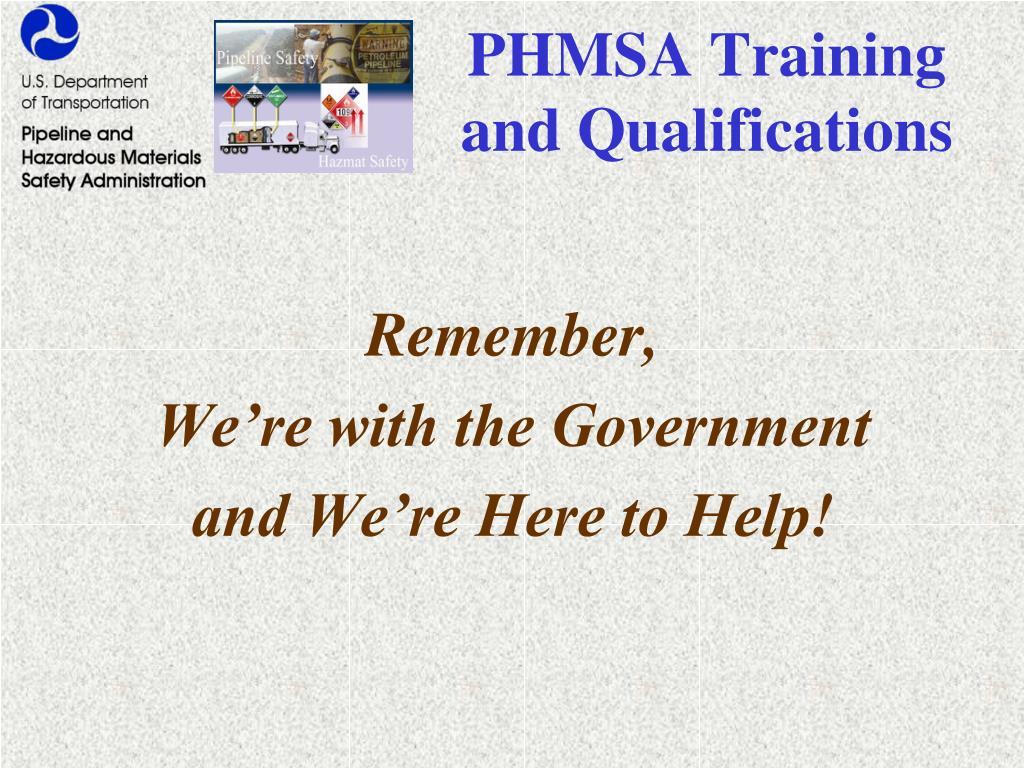 PHMSA Training and Qualifications