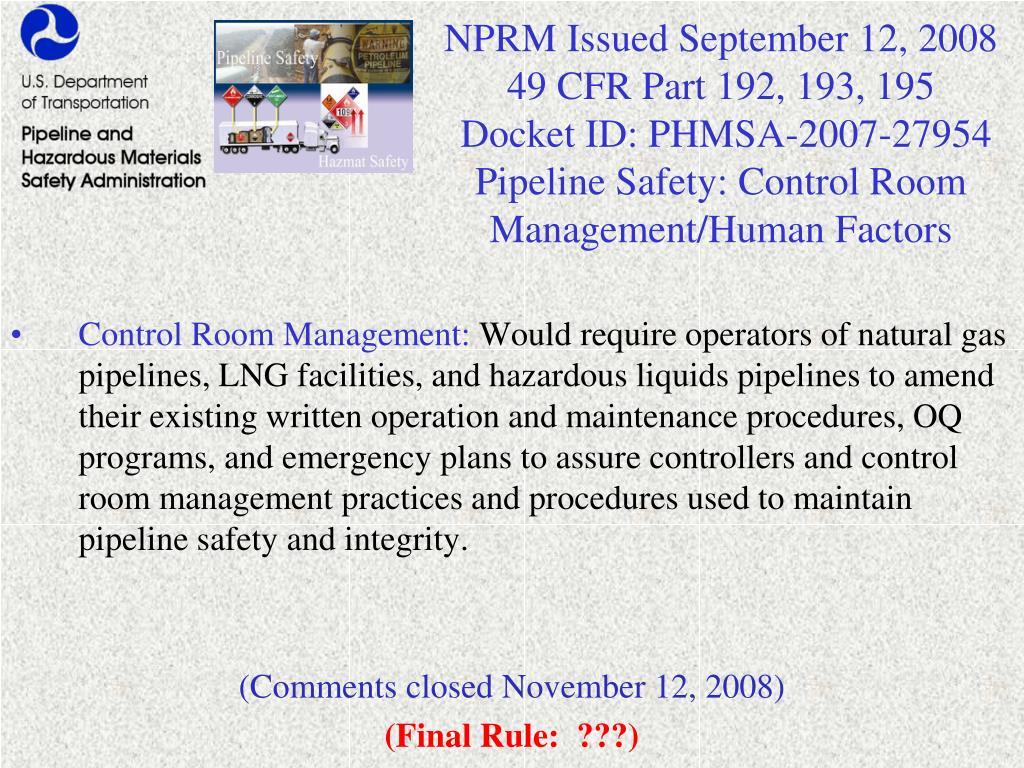 NPRM Issued September 12, 2008