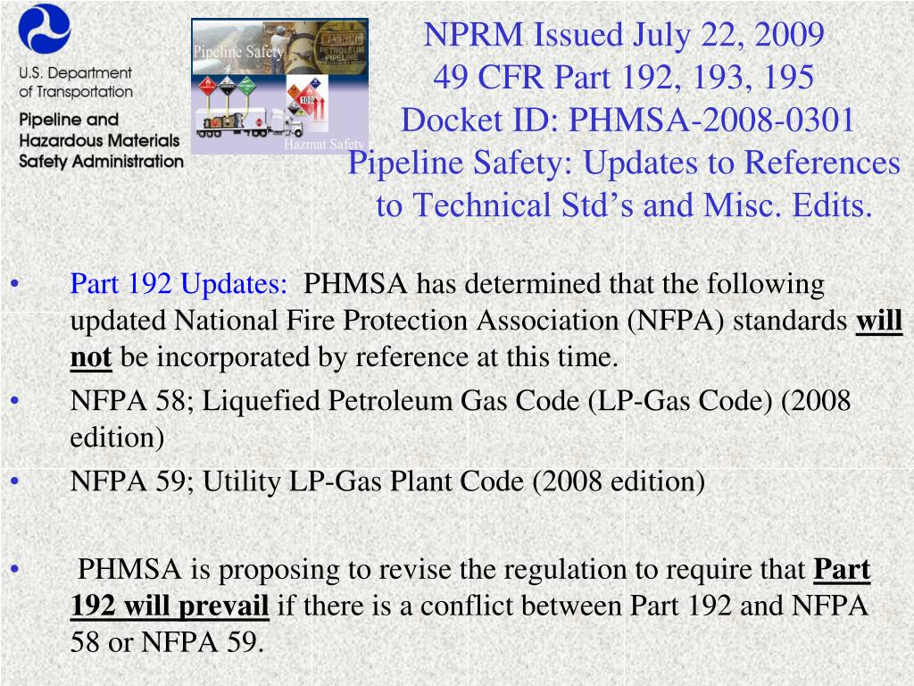NPRM Issued July 22, 2009