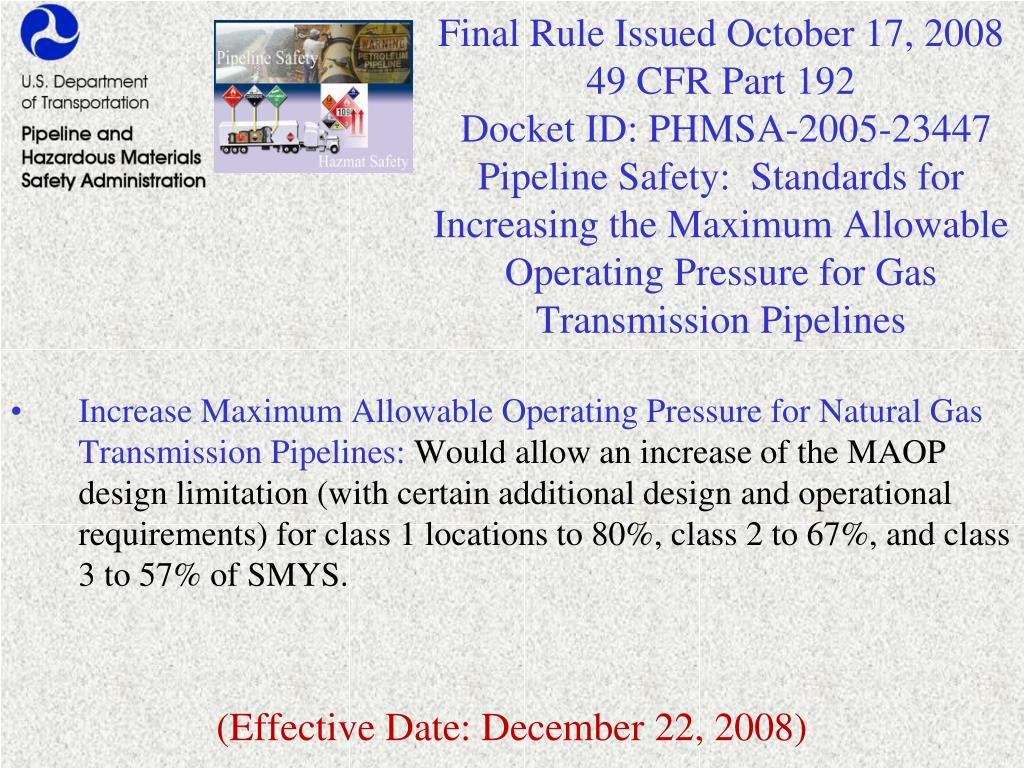Final Rule Issued October 17, 2008