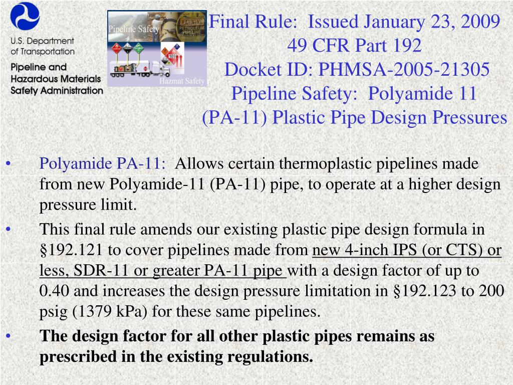 Final Rule:  Issued January 23, 2009