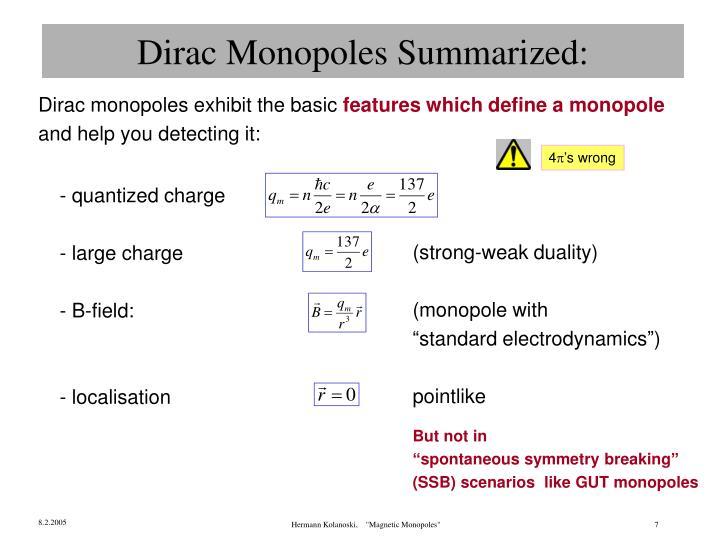 Dirac Monopoles Summarized: