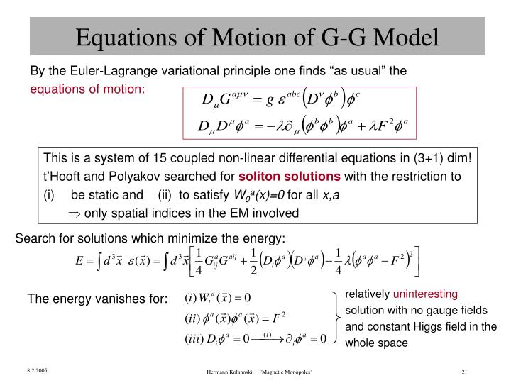 Equations of Motion of G-G Model