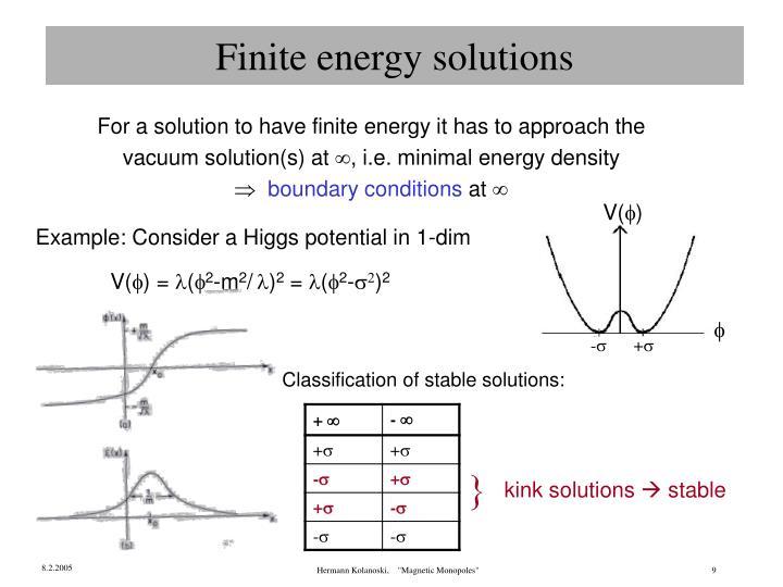 Finite energy solutions