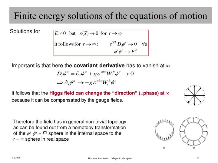 Finite energy solutions of the equations of motion