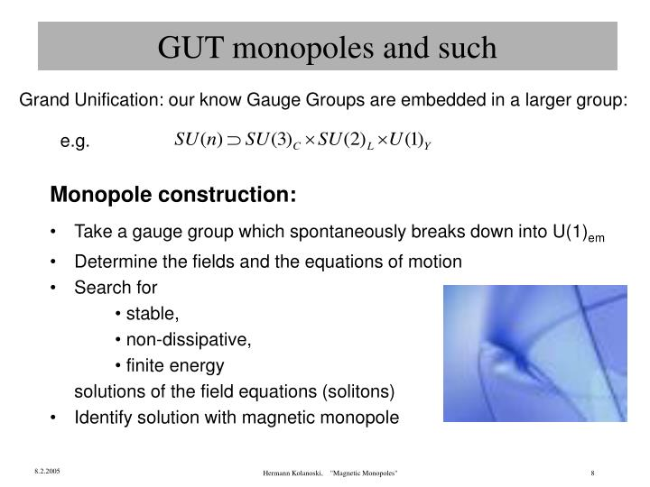 GUT monopoles and such