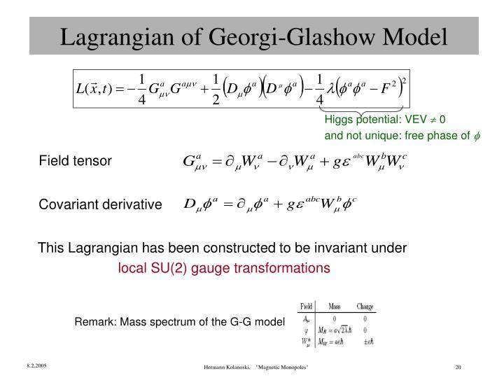 Lagrangian of Georgi-Glashow Model