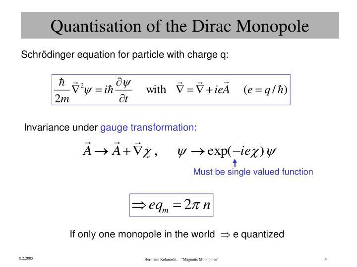 Quantisation of the Dirac Monopole