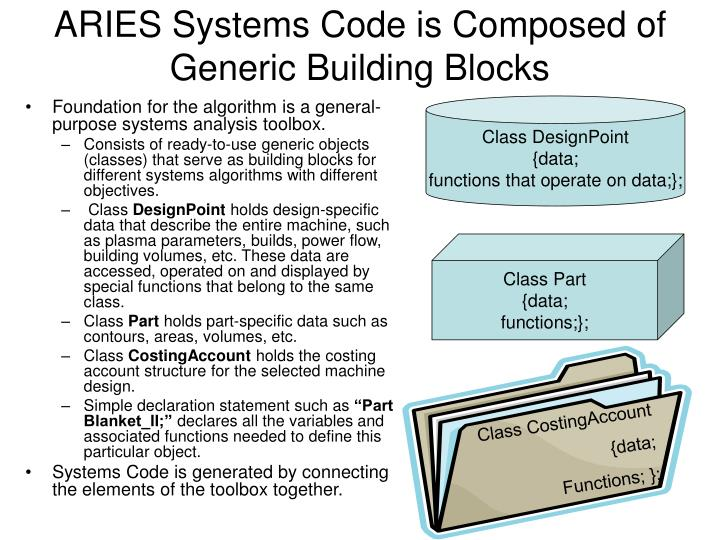 ARIES Systems Code is Composed of Generic Building Blocks