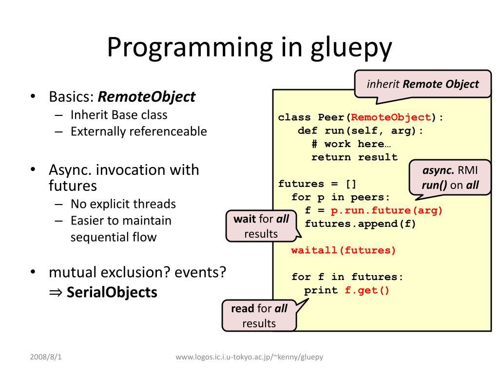 Programming in gluepy