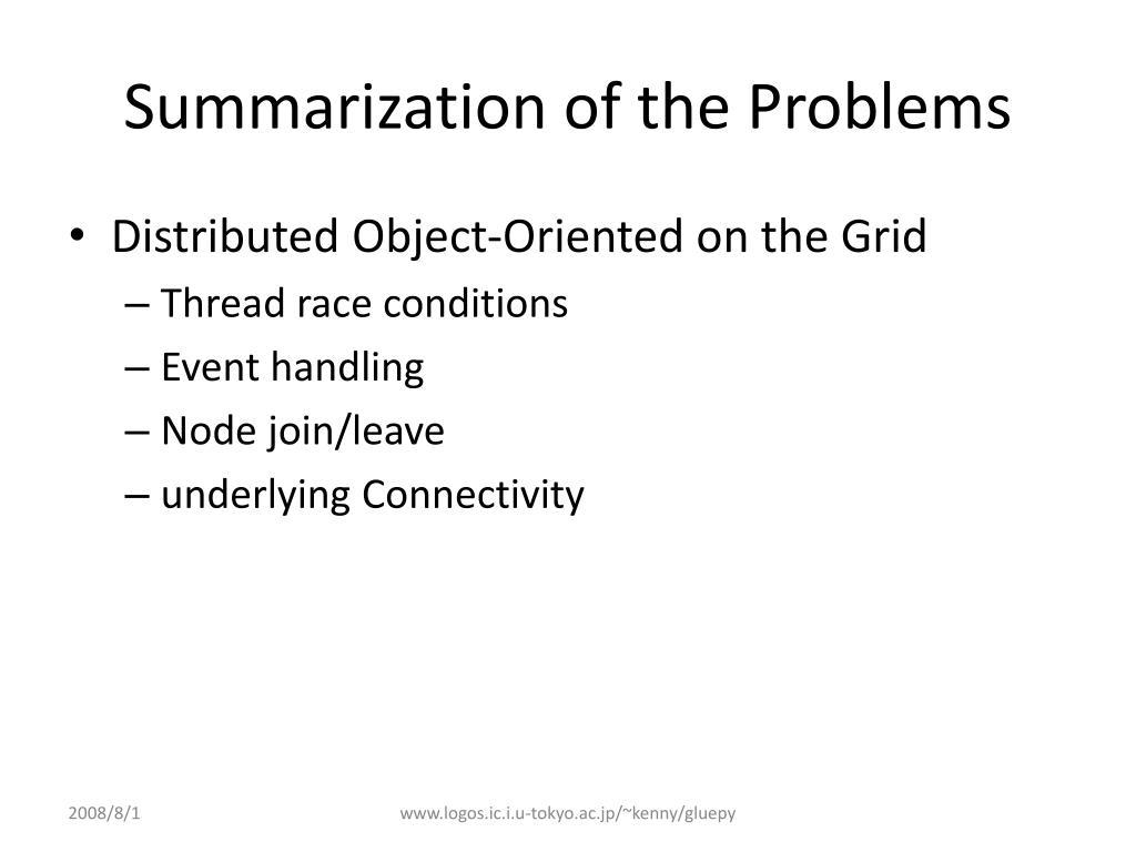 Summarization of the Problems