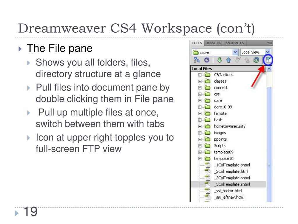 Dreamweaver CS4 Workspace (con't)