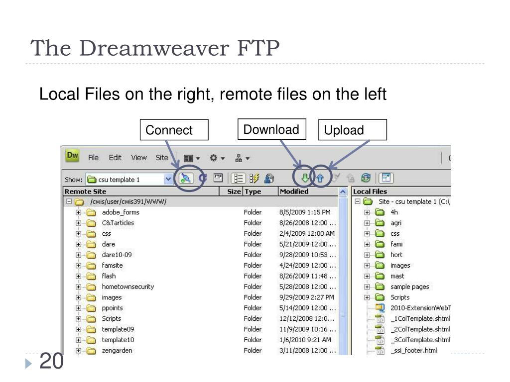 The Dreamweaver FTP